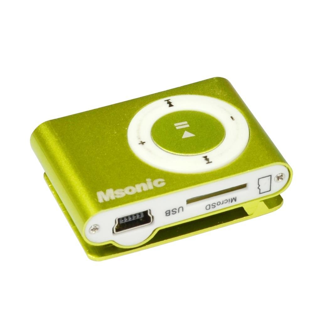 MSONIC MP3 přehrávač s čtečkou karet, sluchátka, miniUSB kabel, hliník žlutý