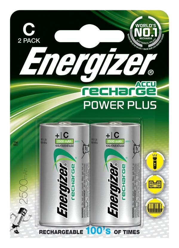 Dobíjecí baterie, ENERGIZER Power Plus, C, HR14, 1.2V, 2500mAh, 2 ks