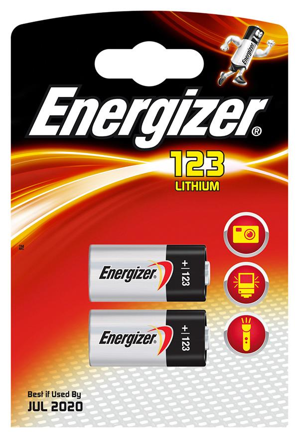 Baterie, ENERGIZER Photo Lithium, 123, 3V, 2 ks