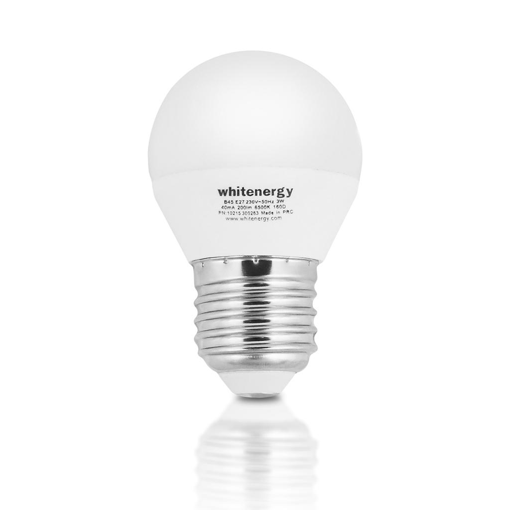 WE LED žárovka SMD2835 G45 E27 3W teplá bílá