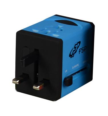FSP/Fortron NT 580 BU Univerzální cestovní zásuvkový adaptér s USB nabíječkou, modrý
