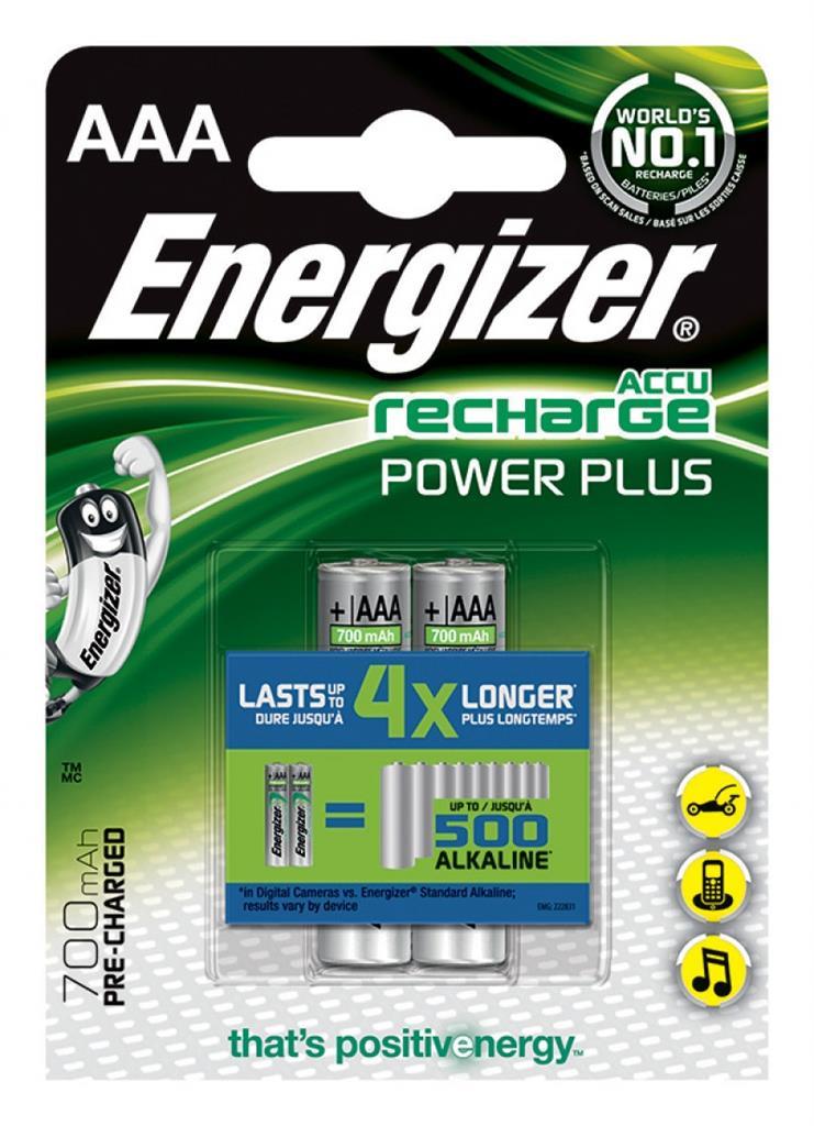 Dobíjecí baterie, ENERGIZER Power Plus, AAA, HR03, 1,2 V, 700mAh, 2 ks