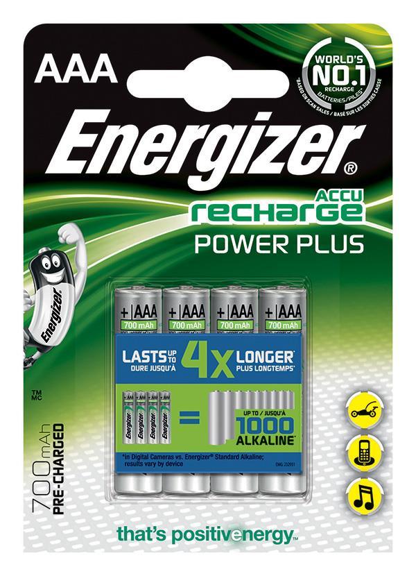 Dobíjecí baterie, ENERGIZER Power Plus, AAA, HR03, 1.2V, 700mAh, 4 ks