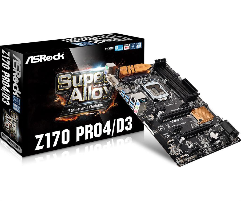 ASRock Z170 PRO4/D3, Z170, DualDDR3-1600, SATA3, SATAe, RAID, HDMI, DVI, ATX