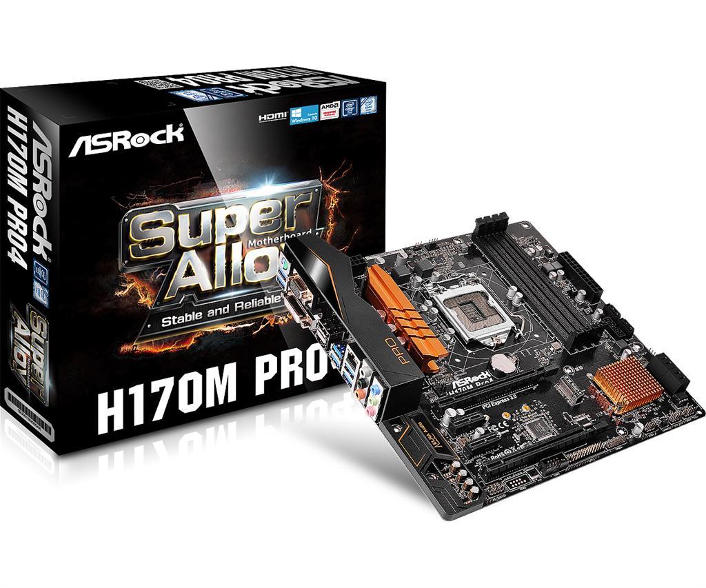 ASRock H170M PRO4, H170, DualDDR4-2133, SATA3, RAID, HDMI, DVI, D-Sub, mATX