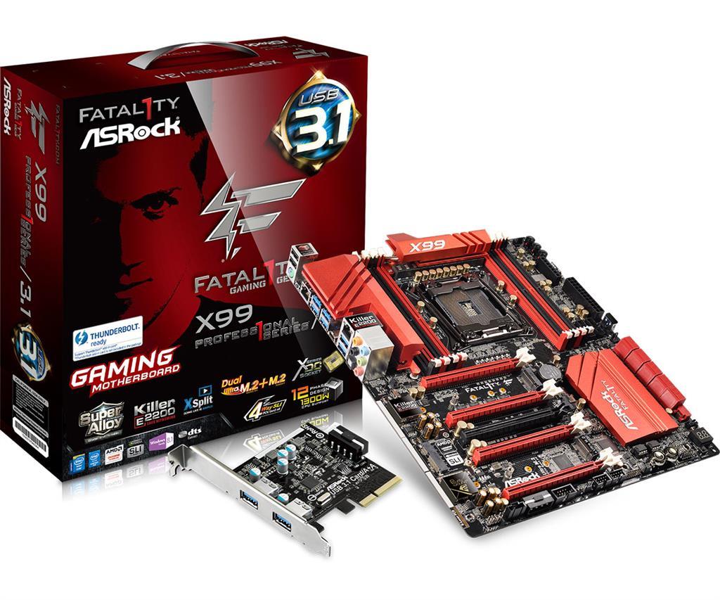 ASRock Fatal1ty X99 PROFESSIONAL/3.1, X99, QuadlDDR4-2133, SATA3, USB 3.1, E-ATX