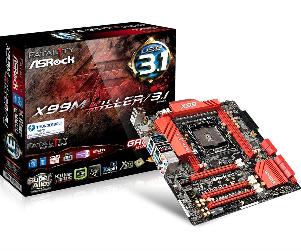 ASRock Fatal1ty X99M KILLER/3.1, X99, DualDDR4-2133, SATA3, SATAe, USB 3.1, mATX