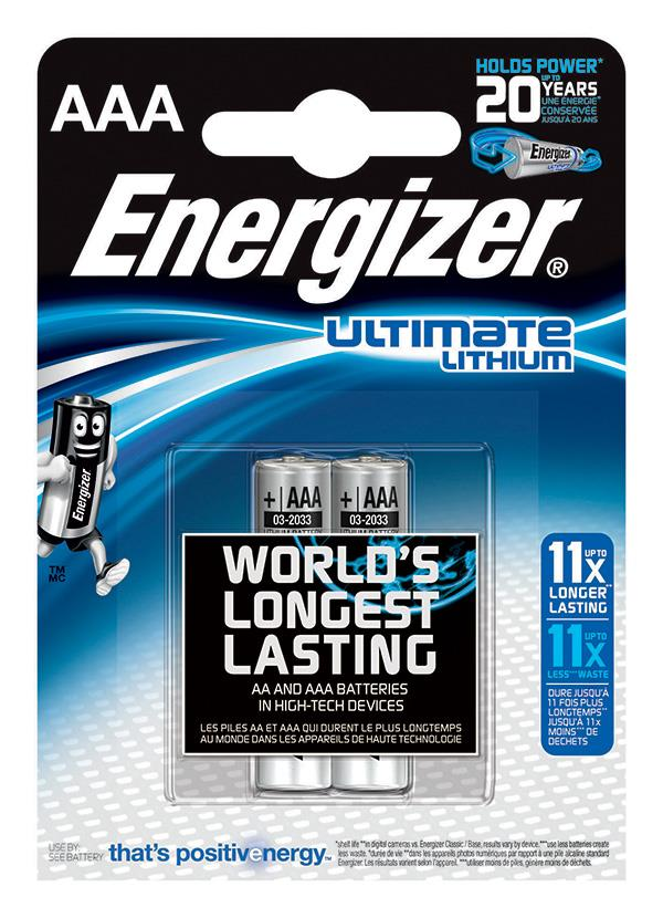 Baterie, ENERGIZER Konečná Lithium, AAA, L92, 1,5 V, 2 ks