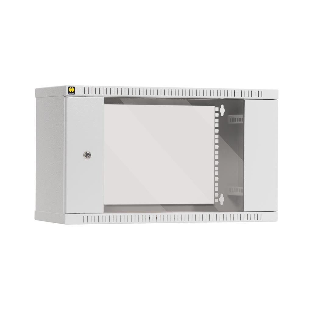Závěsný datový rozvaděč 19'' Netrack 6U/240 mm, skleněné dveře, barva šedá
