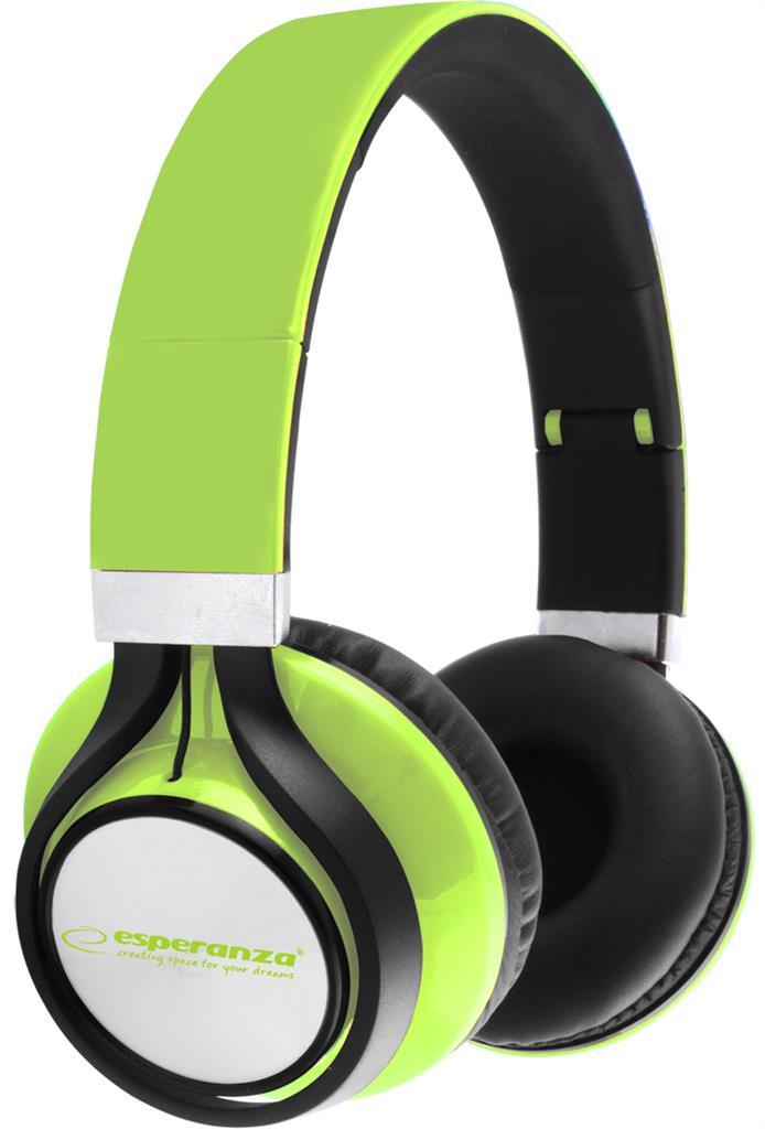 Esperanza EH159G FREESTYLE Stereo sluchátka, skládací, ovl. hlasitosti, 2m, zele