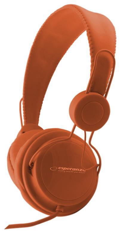 Esperanza EH148O SENSATION Stereo sluchátka, ovl. hlasitosti, 3m, oranžová