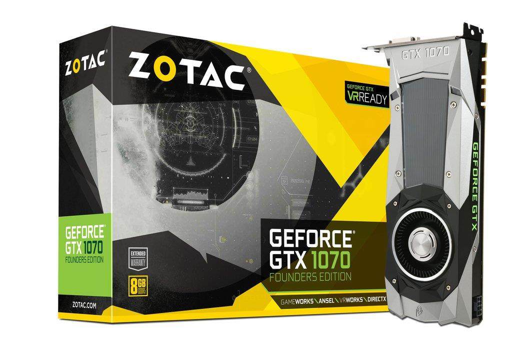 ZOTAC GeForce GTX 1070 Founders Edition, Blower, 8GB GDDR5 (256 Bit), Retail