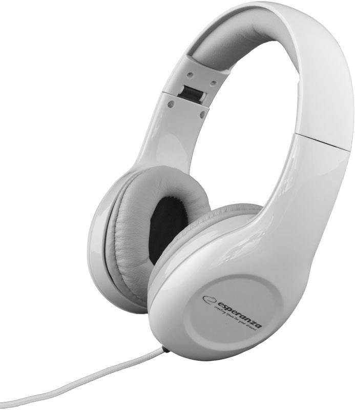 Esperanza EH138W SOUL Stereo sluchátka, skládací, ovl. hlasitosti, 3m, bílá