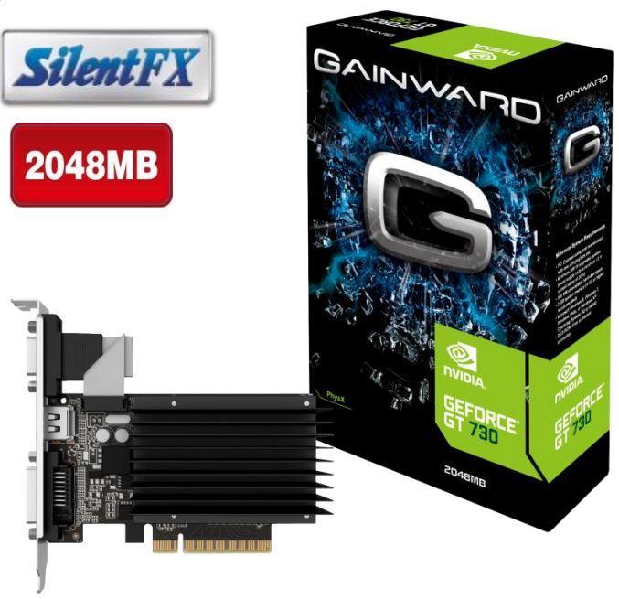 Gainward GeForce GT 730 SilentFX, 2GB DDR3 (64 Bit), HDMI, DVI, VGA