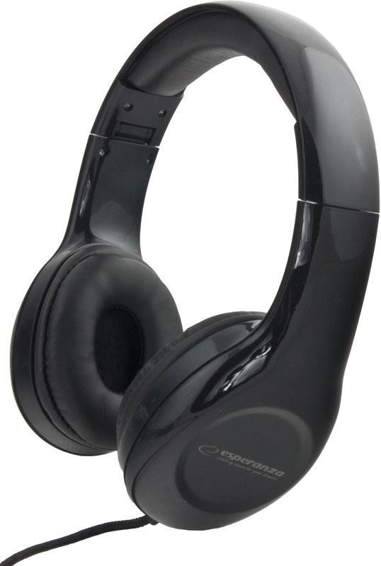 Esperanza EH138K SOUL Stereo sluchátka, skládací, ovl. hlasitosti, 3m, černá