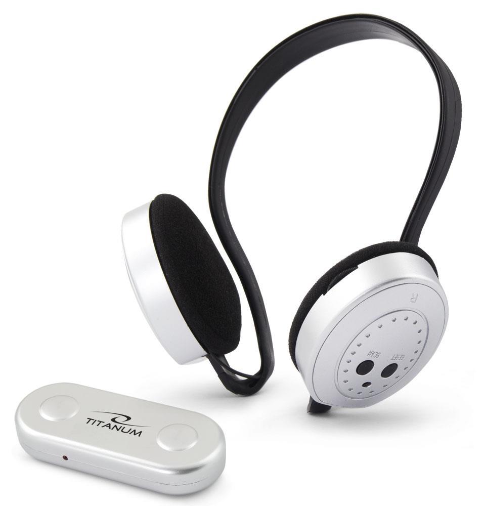 Titanum TH111 SWING Bezdrátová sluchátka s mikrofonem, FM rádio, bílo-černá