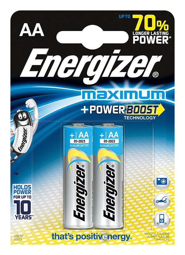 Baterie, ENERGIZER Maximum, AA, LR6, 1,5 V, 2 ks
