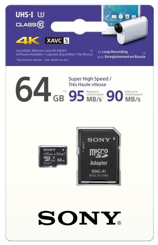 SONY microSD SR64UZ 64GB, class10, 95MB/s, adapter
