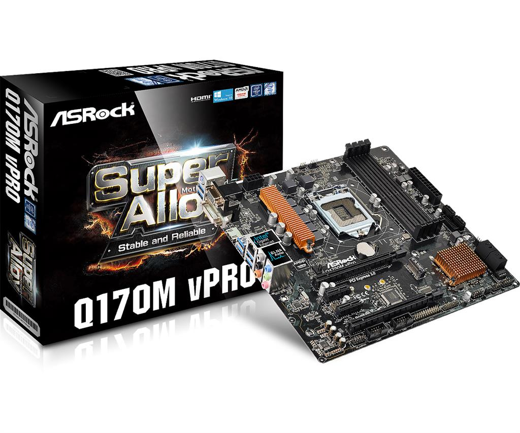 ASRock Q170M VPRO, Q170, DualDDR4-2133, SATA3, M.2, HDMI, DVI, D-Sub, mATX