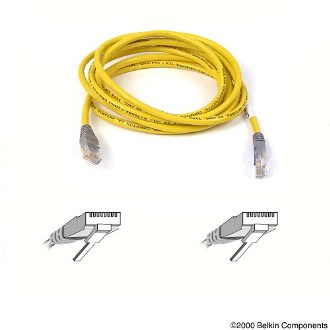 Belkin kabel PATCH UTP CAT5e CROSS 1m šedý/žlutý, bulk
