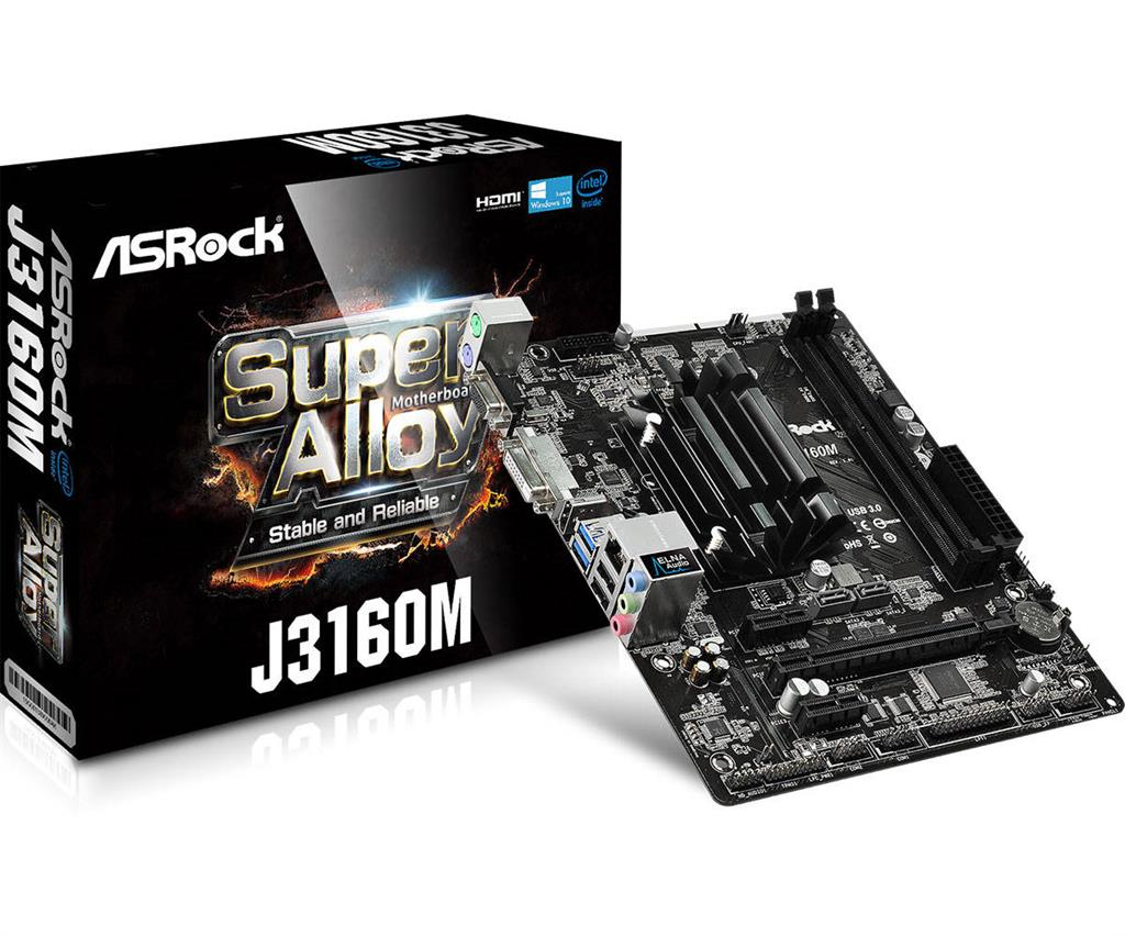 ASRock J3160M, J3160, DualDDR3-1600, SATA3, HDMI, DVI, D-Sub, USB 3.0, mATX