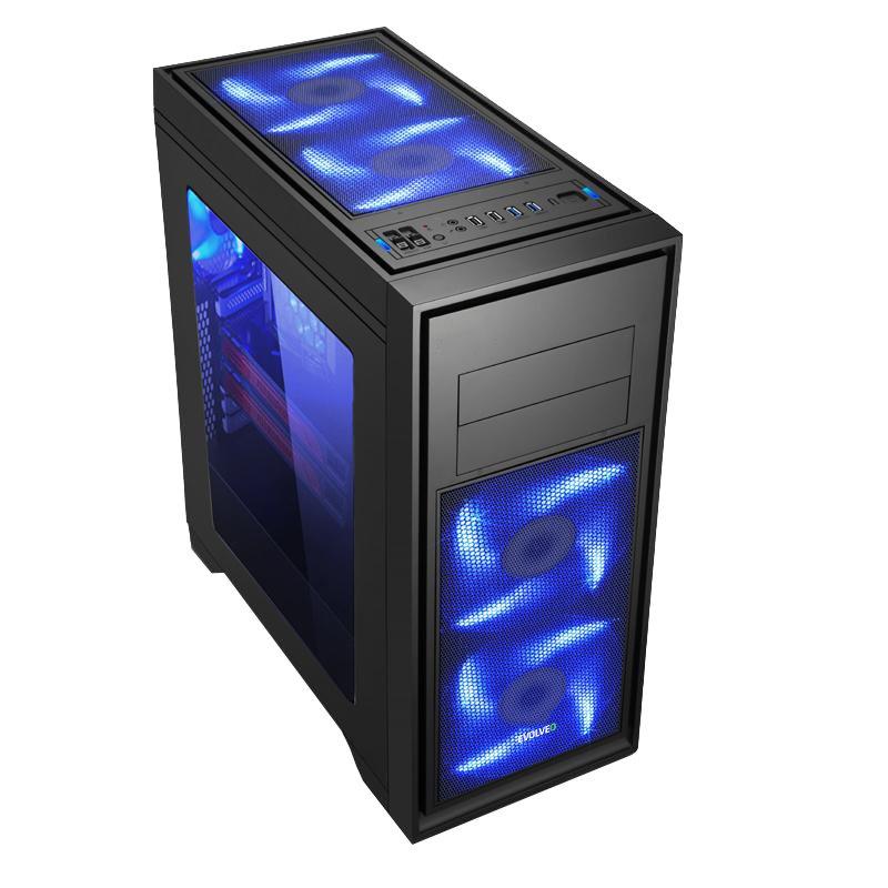 EVOLVEO T4, case ATX / 2x USB2.0 / 2x USB3.0 / průhledná bočnice /černý