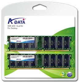 ADATA DDR 2GB (Kit 2x1GB) DIMM 400MHz CL3 - retail balení