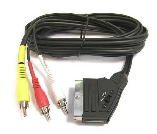 PremiumCord Kabel SCART - 3xCINCH M/M 1.5m in/out přepínač
