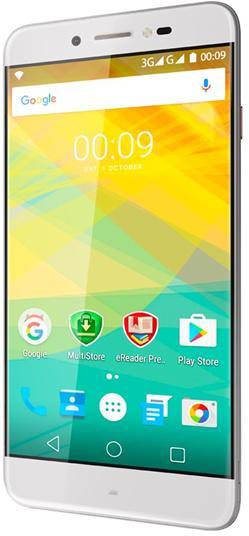 "PRESTIGIO Grace Z5, 5.3"" HD IPS 2.5D, DualSIM, Android 6.0, Quad Core 1,3GHz, 1280*720, 8GB ROM,1GB RAM, 13Mpx, stříbrná"
