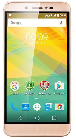 "PRESTIGIO Grace Z5, 5.3"" HD IPS 2.5D, Dual SIM, Android 6.0, Quad Core 1,3GHz, 1280*720, 8GB ROM,1GB RAM, 13Mpx, zlatý"