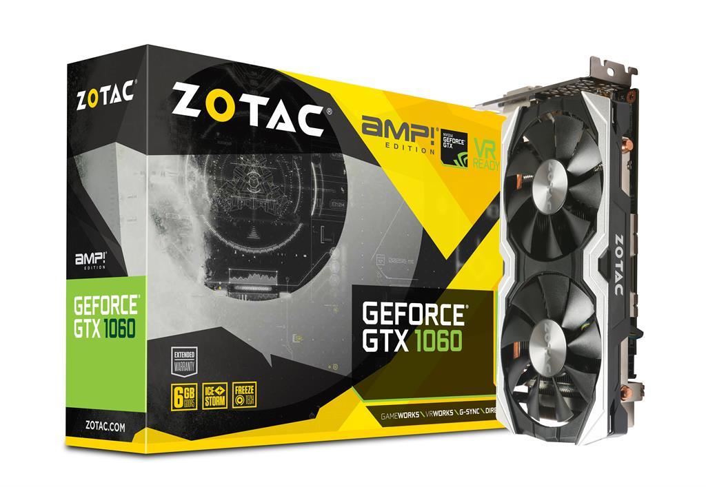 ZOTAC GeForce GTX 1060 AMP, 6GB GDDR5 (192 Bit), HDMI, DVI, 3xDP, RETAIL