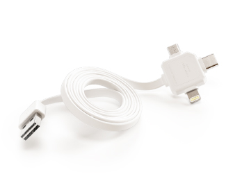 PowerCube USBcable USB-C CABLE, White, multi-vidlice (MicroUSB, Apple Lithning, USB-C), kabel 1,5m