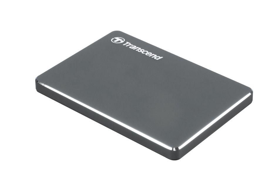 """TRANSCEND 1TB StoreJet 25C3N, 2.5"""", USB 3.0, Stylový externí hard disk, ultra-tenký, ocelově šedý"""
