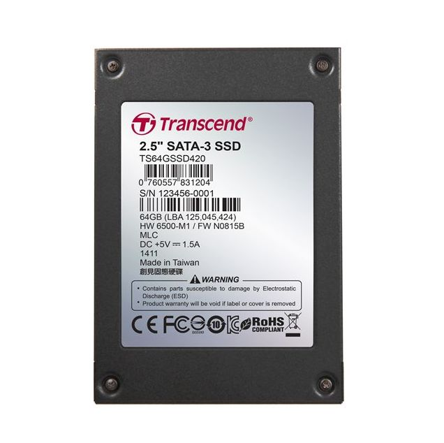 "TRANSCEND SSD420 64GB Industrial SSD disk2.5"" SATA3, MLC, Ind., Iron case, černý"