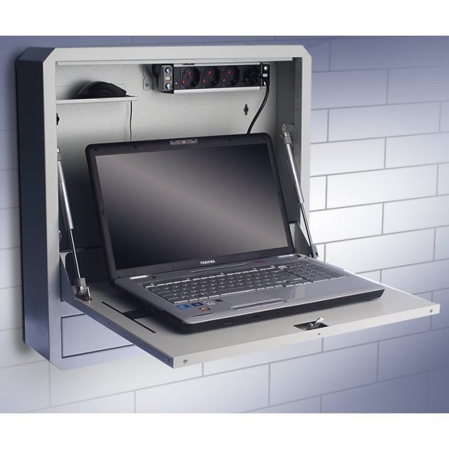 Techly Závěsná bezpečnostní skříňka na notebook, s policí a se zámkem