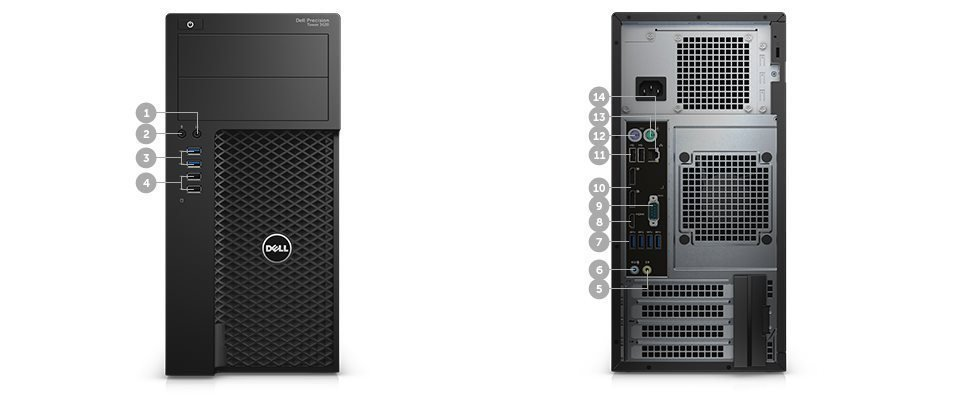 DELL Precision T3620 E3-1240 v5/16GB/256GB SSD/2TB/4GB Quadro M2000/klávesnice+myš/Win 7/10 Pro