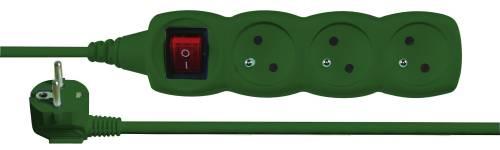 Emos prodlužovací šňůra P1313Z - 3 zásuvky, 3m, s vypínačem, zelená