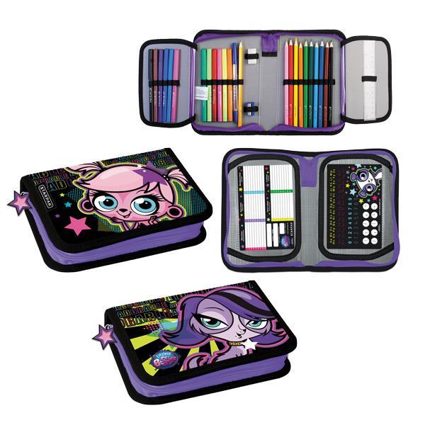 Pencil Case with filling, 2 compartments, Littlest Pet Shop 12/48