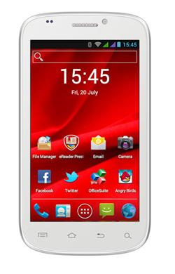 "PRESTIGIO MultiPhone PAP5000DUO, 5,0"", Dual SIM, 800*480, Android 4, 4GB,Wi-Fi, BT,3G,GPS, bílý"