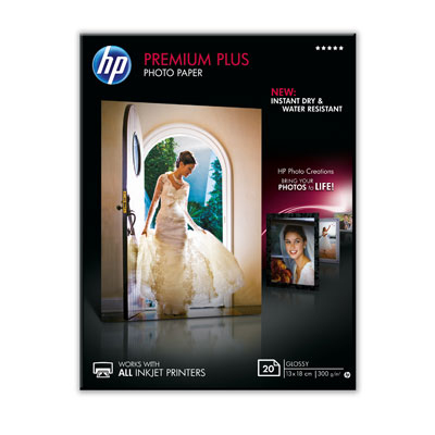 HP Premium Plus Glossy Photo Paper-20 sht/13 x 18 cm, 300 g/m2, CR676A
