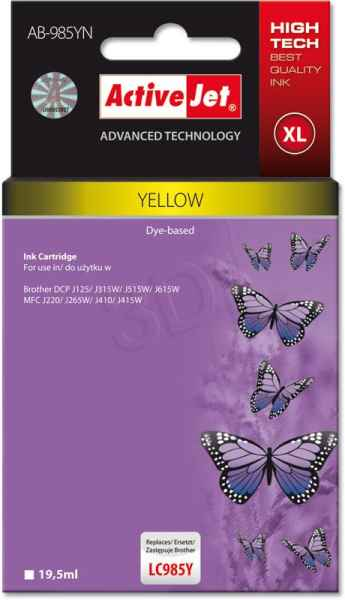 Inkoust ActiveJet AB-985Y | Yellow | 19,5 ml | Brother LC985Y
