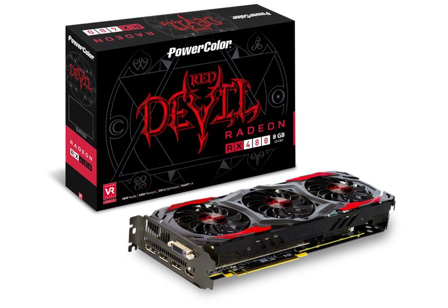 PowerColor Radeon RX 480 Red Devil, 8GB GDDR5 (256 Bit), HDMI, DVI, 3xDP