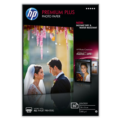HP Premium Plus Glossy Photo Paper-50 sht/10 x 15 cm, 300 g/m2, CR695A