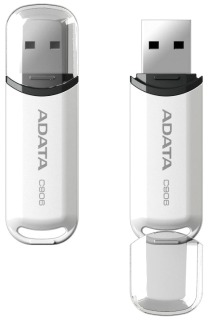 ADATA Classic Series C906 32GB USB 2.0 flashdisk, snap-on cap design, bílý