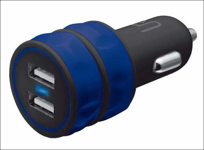 Dual Smartphone Car Charger - blue