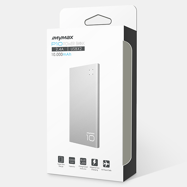 iMyMax P10 Power Bank 10.000mAh, Silver
