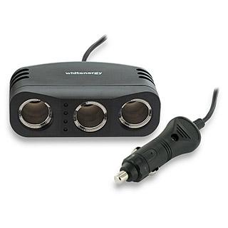 Whitenergy Prodlužovací kabel do automobilového zapalovače 12V ??10A 1m 3x slot