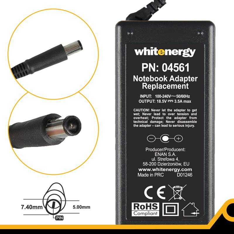 Whitenergy napájecí zdroj 18.5V/3.5A 65W konektor 7.4x5.0mm + pin HP Compaq