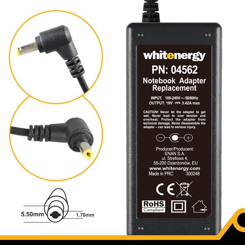Whitenergy napájecí zdroj 19V/3.42A 65W konektor 5.5x1.7mm Acer Blistr