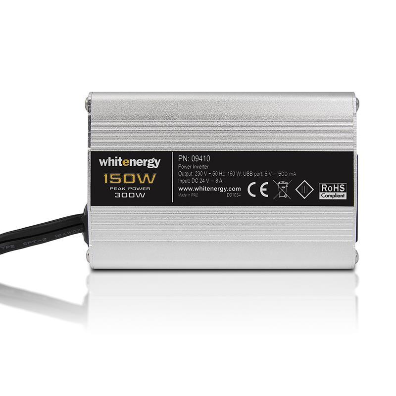 Whitenergy Napěťový měnič DC/AC z 24V na 230V 150 W, USB